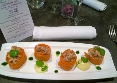 Avocat crevette grises revisité version carottes de Tilques