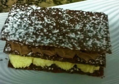 Mille feile chocolat et crème au genièvre de Houlle